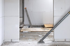 Badkamer uitbouw wordt gebouwd